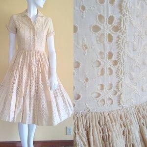 Vintage 1950s cream embroidered dress